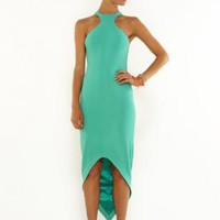 Mint green halter high-low maxi dress