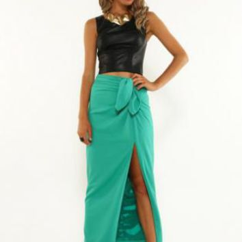 Mint green skirt with slit and front tie