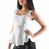 White Sleeveless Ruffled Peplum Top