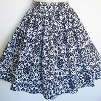 White and Black Damask Fleur de Lis Retro Skirt / by Eclectasie