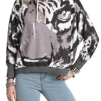 Tiger Face Girls Pullover Hoodie