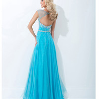 (PRE-ORDER) Tony Bowls 2014 Prom Dresses - Blue Rhinestone Open Back Prom Dress