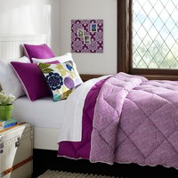 Reversible Mini Dot Super Pouf Comforter + Sham, Plum