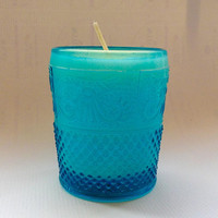 SALE: Lemon Verbena vintage style, turquoise embossed glass soy candle