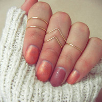Above Knuckle Chevron Ring Set, Adjustable Gold Midi Rings