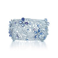 Tiffany & Co. - Butterfly bracelet in platinum with diamonds and Montana sapphires.
