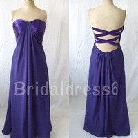 2014 Purple Sweetheart Strapless Lace-up Backless Long A-line Bridesmaid Celebrity Dress,Floor Length Chiffon Evening Party Prom Dress