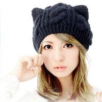 WAWO Devil horns Cat Ear Crochet Braided Knit Ski Wool Hat Cap Of Korean Women Style WHF155 (4-Black)