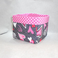 Bright and Pretty Hot Pink, Dark Gray and Red Heart Themed Basket