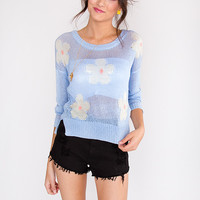 Field of Daisies Sweater - Light Blue