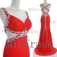 Mermaid Straps with Crystal Chiffon Red Sexy Blue Prom Dresses