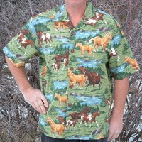XL Hawaiian Shirt Horses | DaynaInc - Clothing on ArtFire