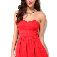 Jacquard Print Strapless Party Dress