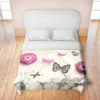 Duvet Cover Premium Heavy Weight Woven from DiaNoche Designs by Monika Strigel Home Decor and Bedroom Ideas - Vintage Butterfly