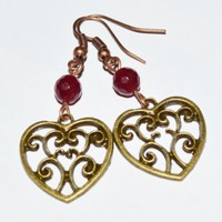 Heart bronze earrings love modern chic earrings affordable jewelry