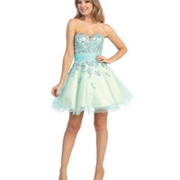 (PRE-ORDER) 2014 Prom Dresses - Blue Sequined Tulle & Beaded Strapless Short Dress