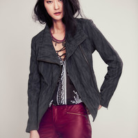 We The Free Womens Vegan Suede Moto Jacket -