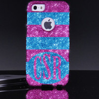 Otterbox iPhone 5 5S Case Large Horizontal Stripes Monogram Raspberry/Peacock Glitter iPhone 5 5S Otterbox Case Personalized iPhone 5S Case