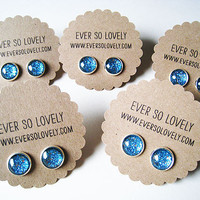 BRIDESMAIDS SET of 5 - your color choice- handmade round post earrings nickel free - summer nights and starry skies