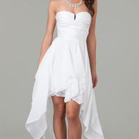 High Low White Strapless Dress