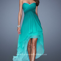 Strapless Ombre High Low Dress by La Femme