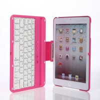 Zhipingshop Hot Sale Cover Case with Swivel Rotary Stand + Bluetooth Wireless Keyboard for Ipad Mini (pink)