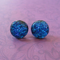 Dichroic Blue Earrings | Stud Earrings | Hypoallergenic Jewelry | Cobalt Blue Jewelry - Ally - 2306 -4