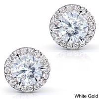 14k White Gold Moissanite and 1/4ct TDW Round-cut Diamond Stud Earrings (G-H, I1-I2)