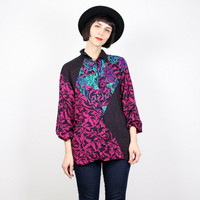 Vintage Mixed Print Blouse Polka Dot Paisley Floral Shirt Oversized Blouse New Wave Top Pink Black Teal 1980s 80s Mod M Medium L Large
