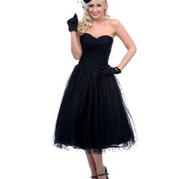 UV Exclusive Bridal Collection Black Polka Dot Sweet as Pie Strapless Chiffon Swing Dress