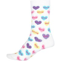 White love hearts print socks - tights / socks - accessories - women