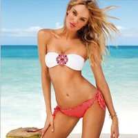 2013 new 2pcs sexy women's bikini trikini beach wear swimsuit Tankini with crystal