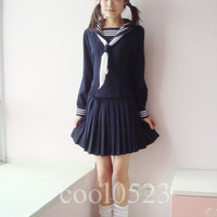 Japanese Japan School Girl Blue Long-Sleeved Uniform Cosplay Costume New-C006
