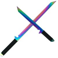 Trademark Dual Rainbow Blade Full Tang Ninja Swords with Sheath