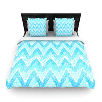 "Marianna Tankelevich ""Mint Snow Chevron"" Blue Chevron Fleece Duvet Cov"