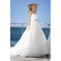 Elegant Strapless Beaded Organza Taffeta Wedding Dress