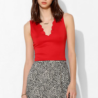 Pins And Needles Scallop Deep-V Tank Top - Urban Outfitters