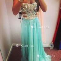 Custom Made A-line Strapless Rhinestone Long Prom Dresses, Evening Dresses, Cheap Prom Dress 2014, Formal Dresses