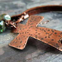 Copper Cross Leather Bracelet, Boho, Hammered Rustic Cross, Christian, Inspirational