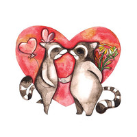 I Love You Raccoon Heart Flower Valentine's Day Watercolor Illustration Woodland Red Brown Engagement Date Wedding
