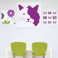 Cat Face Canvas Art - Multiple Colors by Avalisa, Home Accents at ThePremiumPet.com