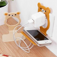 Cartoon mobile phone charging cradle charging rack bracket mounts (Brown)