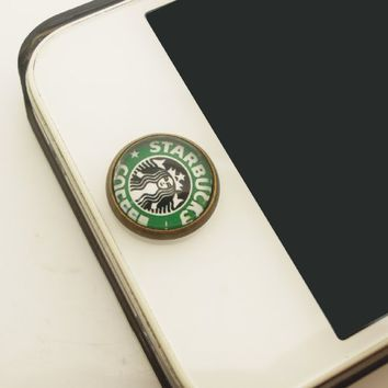 Kids Gift 1pc Glass Epoxy Transparent Times Gems Starbucks Coffee iPhone Home Button Sticker for Iphone 4,4s,4g,5,5c, iPad 2,3,4 iPad mini Buttons Cell Phone Charm