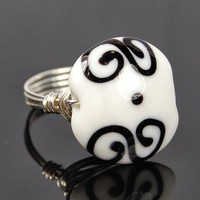 Black and White Lampwork Glass Bead- Sterling Silver Wire Wrap Ring | Twist21 - Jewelry on ArtFire