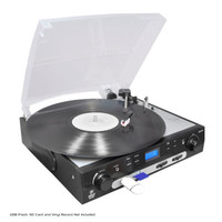 Pyle PLTTB9U USB Turntable with direct-to-digital USB/SD Card Encoder AM/FM