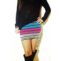 Rainbow Knit Mini Skirt - Studded Tube Skirt