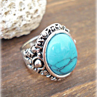 Boho Ring - Boho Turquoise Ring - Boho Jewelry - Hippie Ring - Vintage Ring - Retro Ring - Bohemian Jewelry - Tribal Ring