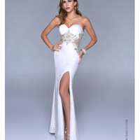 Nina Canacci 2014 Prom Dresses - Pearl Sequin & Filigree Strapless Gown