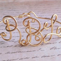 Wire Monogram Bracelet, Cuff, Bangle, Choose Color