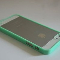Supwiser-Lovely Soft Trim Ultra High Clear Back Hard Cover Bumper Case for iPhone 5 5G (*Mint Green)